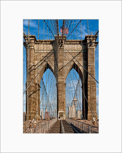 Brooklyn Bridge Web color photograph by Russel Bach matted artwork