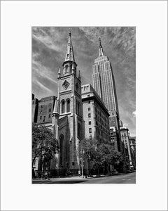 Empire State Building black & white photograph by Alex Leykin matted artwork