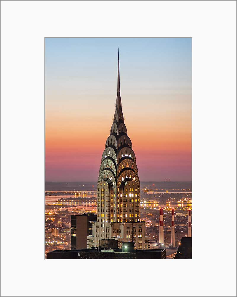 Chrysler Building color photograph by Russel Bach matted artwork
