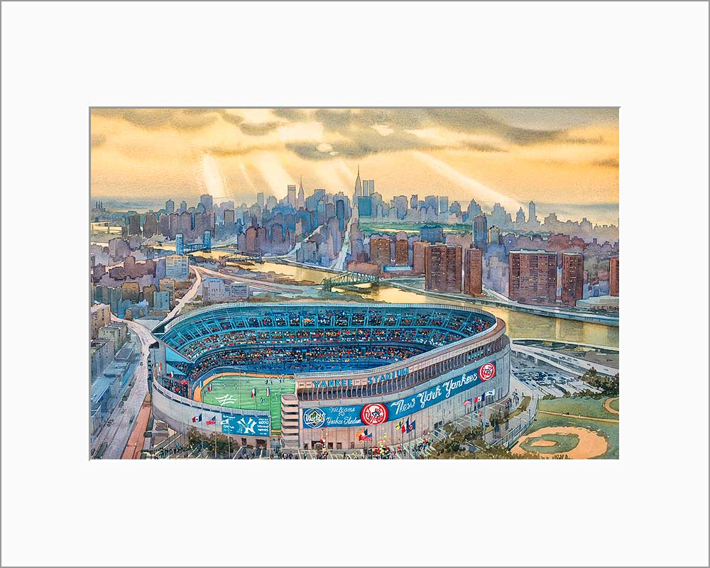 Yankee Stadium by Roustam Nour matted artwork