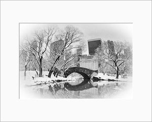 Gapstow Bridge black & white photograph by Alex Leykin matted artwork