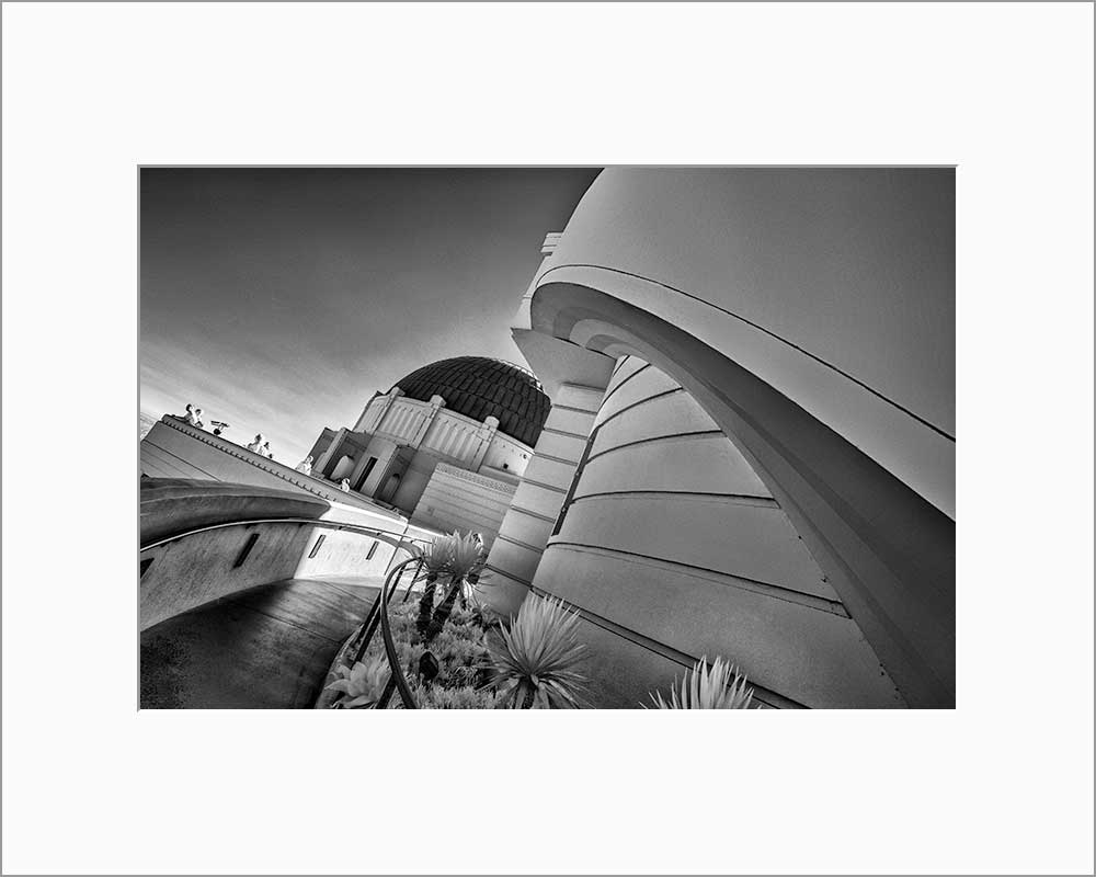 Griffith Observatory infrared black & white photograph by Alex Leykin matted artwork