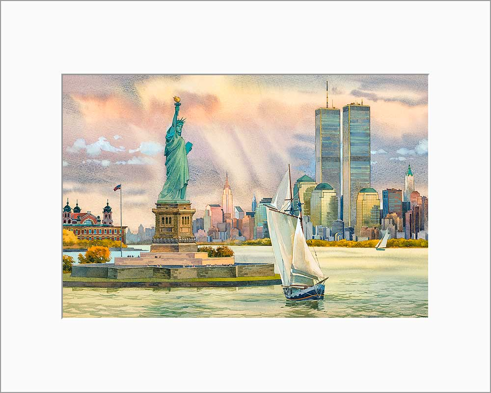 Statue of Liberty by Roustam Nour matted artwork