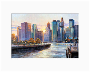 New York Downtown by Max Lanchak matted artwork