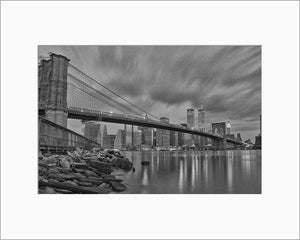 Brooklyn Bridge black & white photograph by Alex Leykin matted artwork
