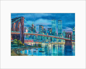 Brooklyn Bridge by Roustam Nour matted artwork