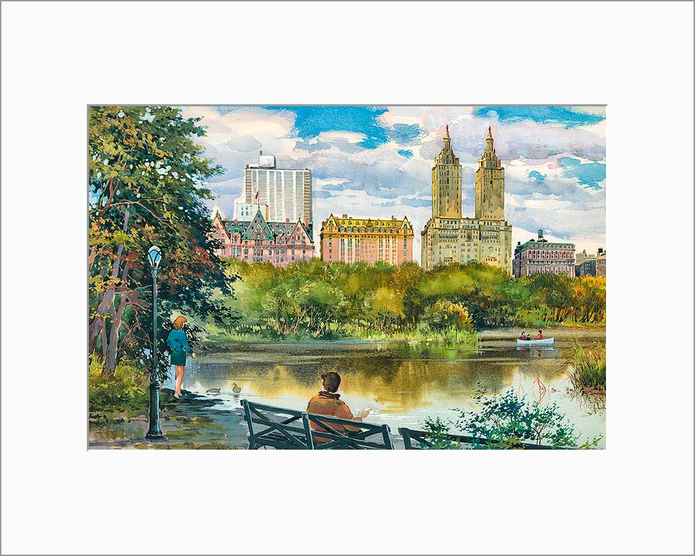 Central Park West by Roustam Nour matted artwork
