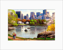 Load image into Gallery viewer, Central Park Lake by Max Lanchak matted artwork