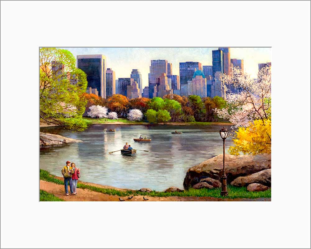 Central Park Lake by Max Lanchak matted artwork