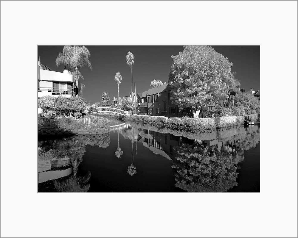Venice Canal black & white photograph by Alex Leykin matted artwork