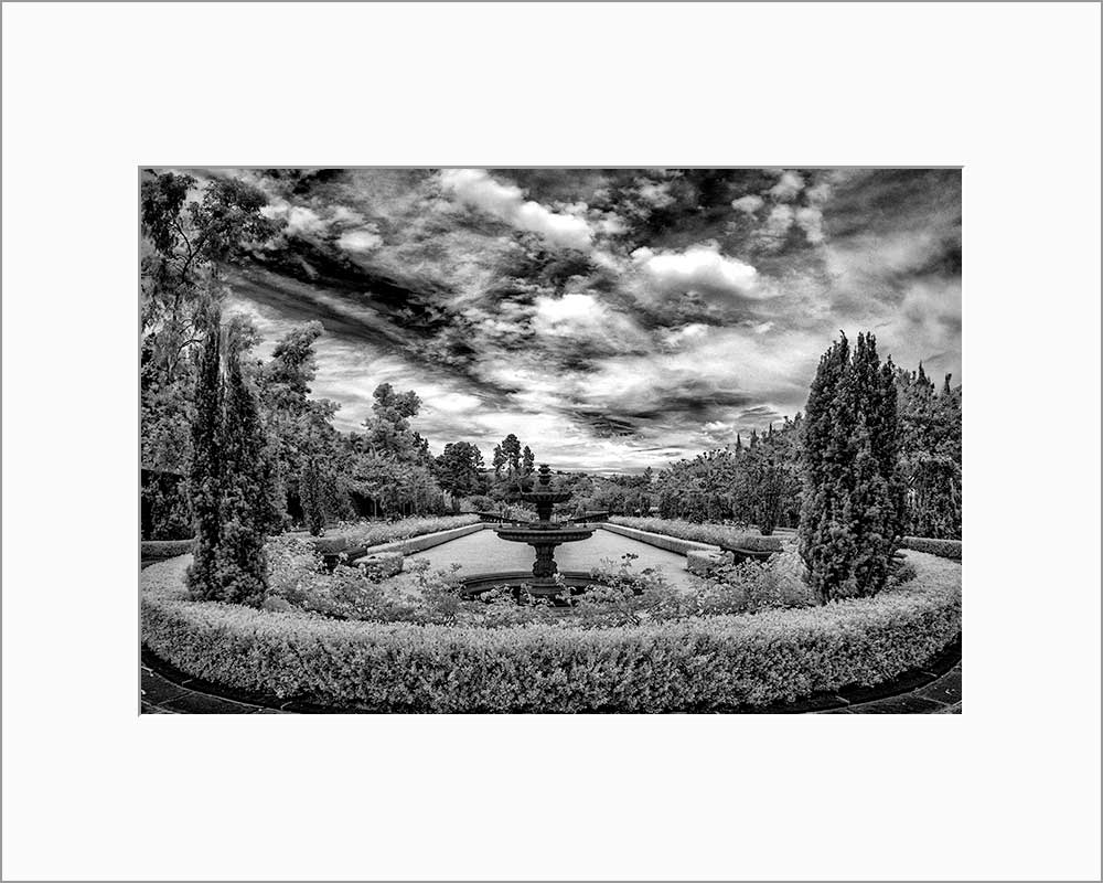 Greystone mansion infrared photograph by Alex Leykin matted artwork