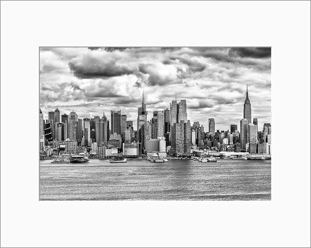 New York Skyline black & white photograph by Russel Bach matted artwork