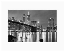 Load image into Gallery viewer, Brooklyn Bridge black & white photograph by Alex Leykin matted artwork