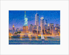 Load image into Gallery viewer, New York Skyline by Max Lanchak matted artwork