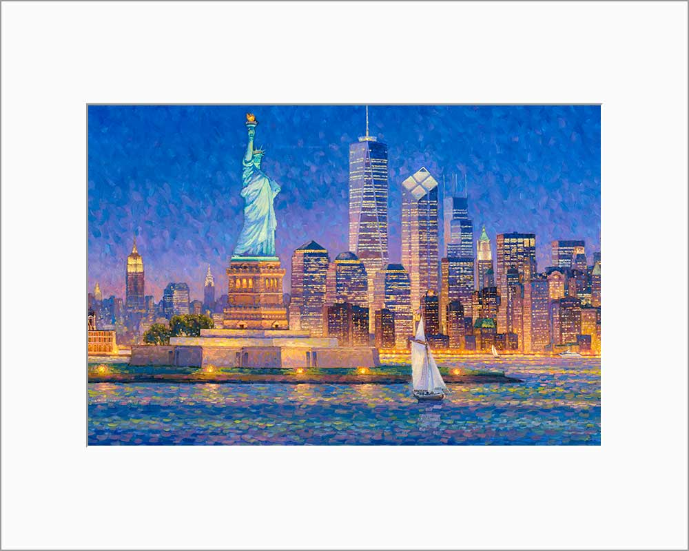 New York Skyline by Max Lanchak matted artwork