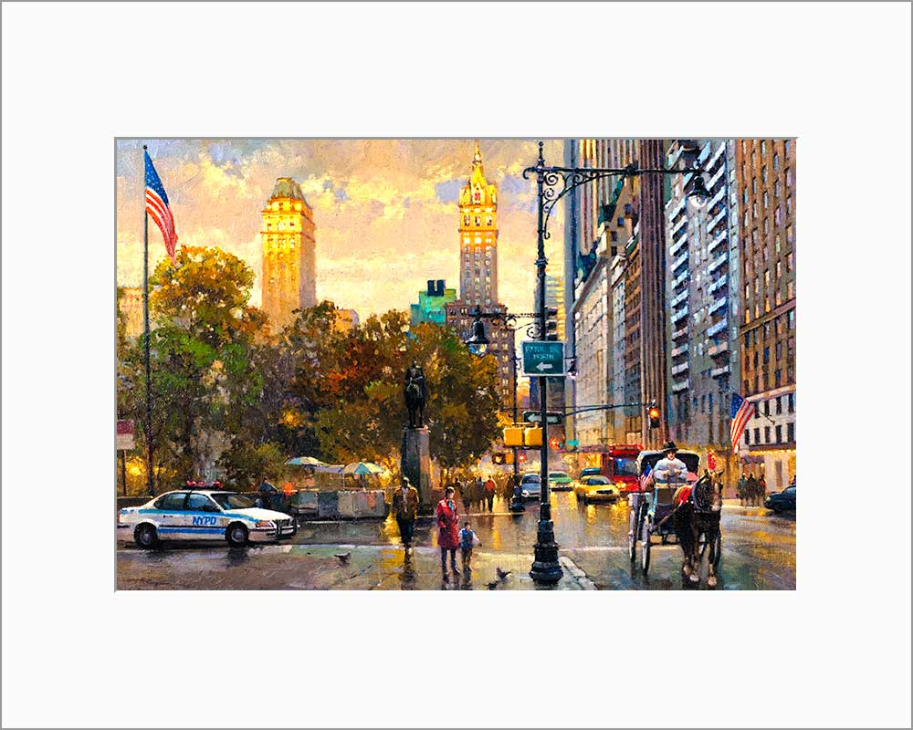 Central Park South by Max Lanchak matted artwork