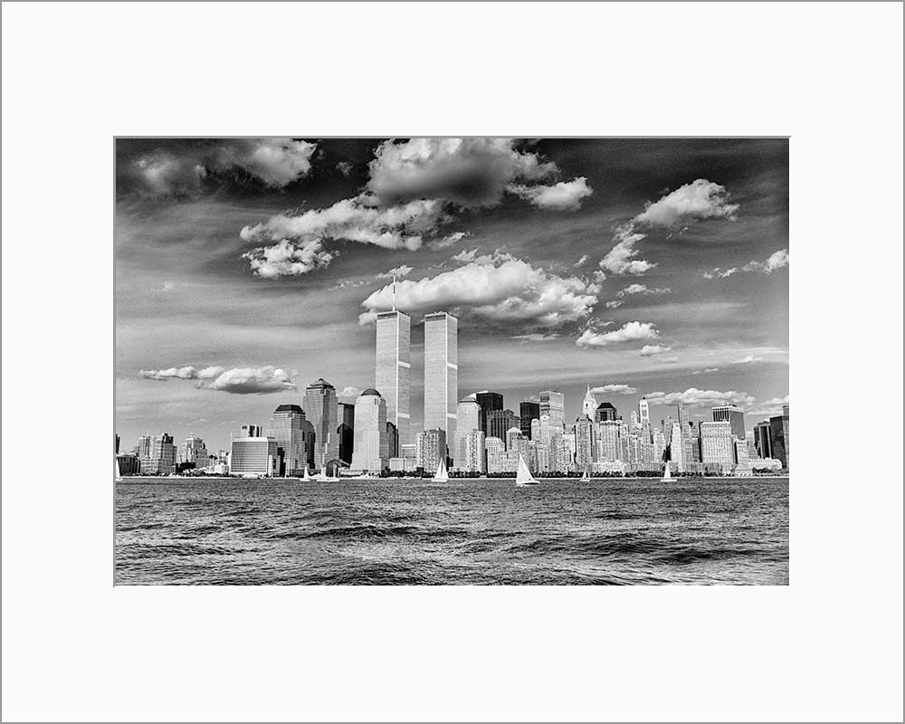 New York Skyline black & white photograph by Alex Leykin matted artwork