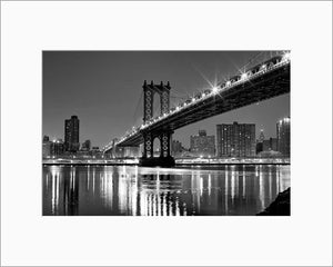 Manhattan Bridge black and white photograph by Russel Bach matted artwork