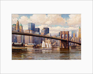 Brooklyn Bridge by Max Lanchak matted artwork
