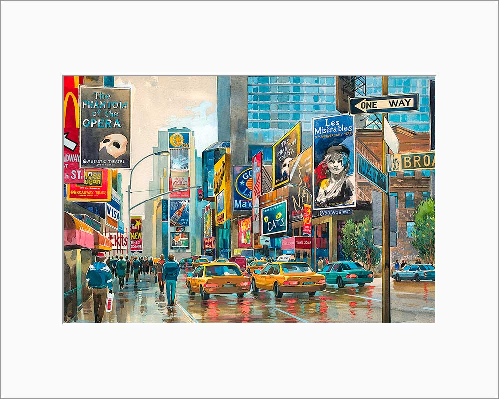 Broadway by Roustam Nour matted artwork