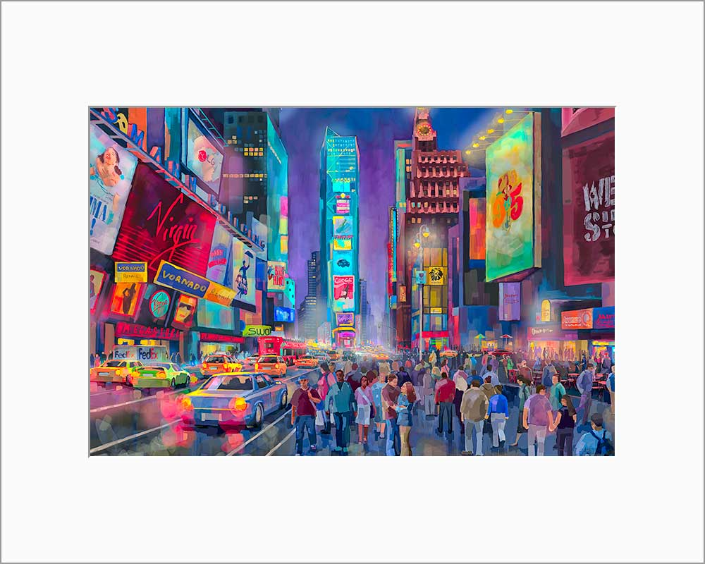 Times Square by Nataly Shootkin matted artwork