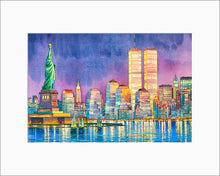Load image into Gallery viewer, Statue of Liberty at night by Roustam Nour matted artwork