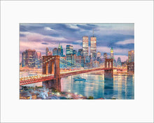 Load image into Gallery viewer, Brooklyn Bridge by Roustam Nour matted artwork