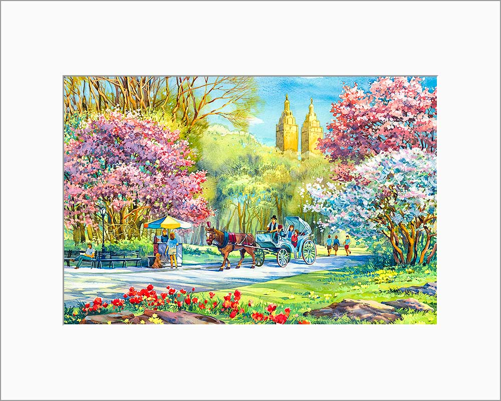 Central Park by Roustam Nour matted artwork