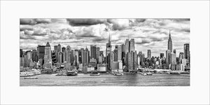 New York Skyline panoramic black & white photograph by Russel Bach matted artwork