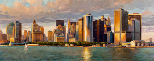 New York Downtown by Max Lanchak panoramic fine art giclée print on canvas