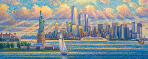 New York Skyline by Max Lanchak panoramic fine art giclée print on canvas