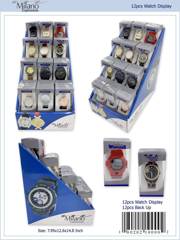 12 Piece Assorted Display with Men's and Ladies Watches and 12 Backup (AQ-12)