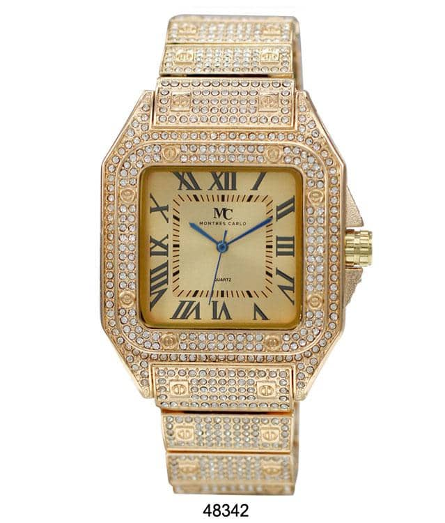 gold iced out watch