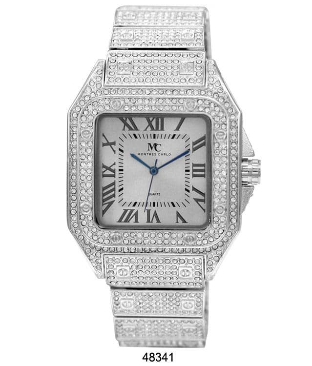 silver iced out watch