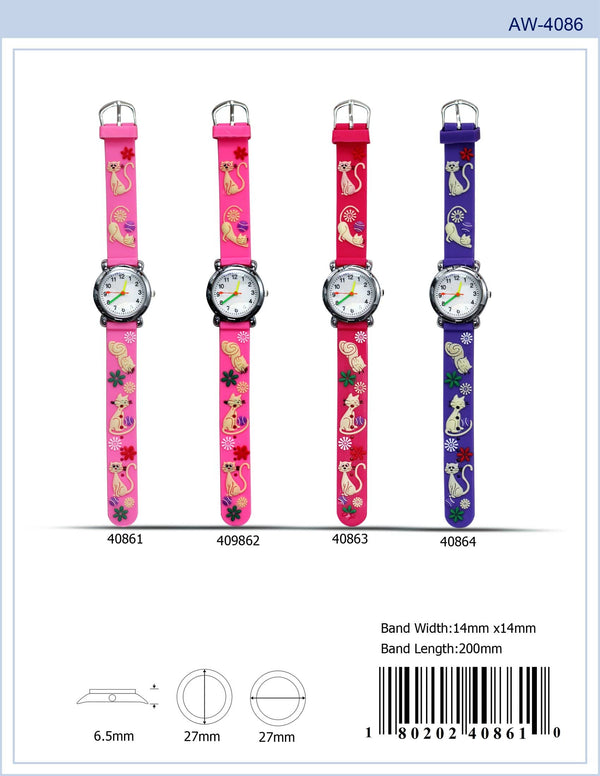 27MM Kids Watch with Cat Print - 4086