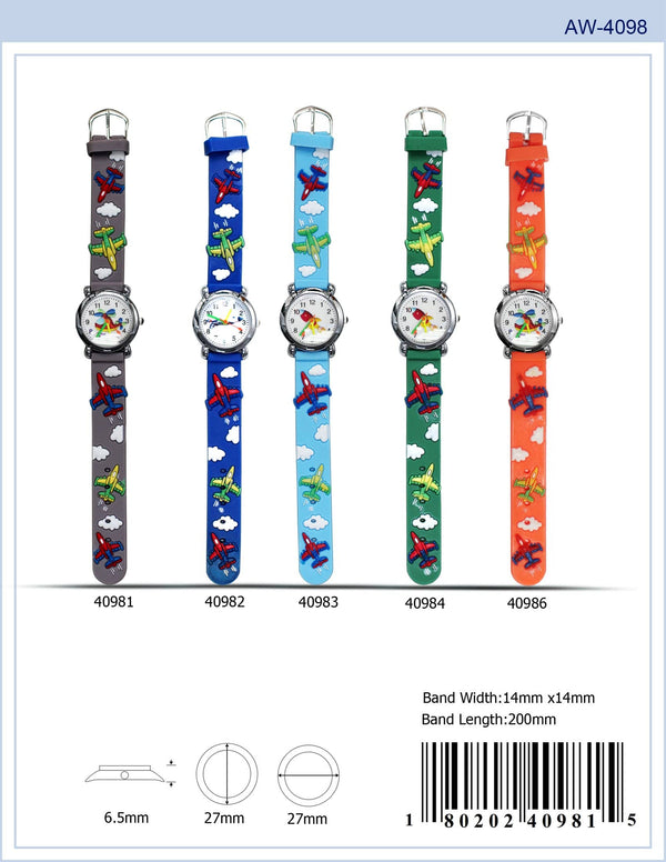 27MM Kids Watch with Airplane Print - 4098