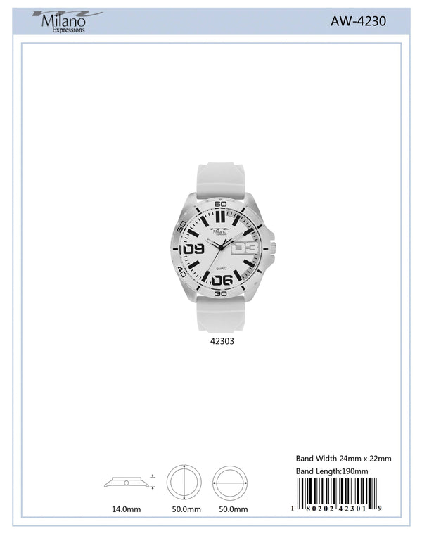 50MM M Milano Expressions White Rubber Strap Watch with Silver Case White Dial - 4230