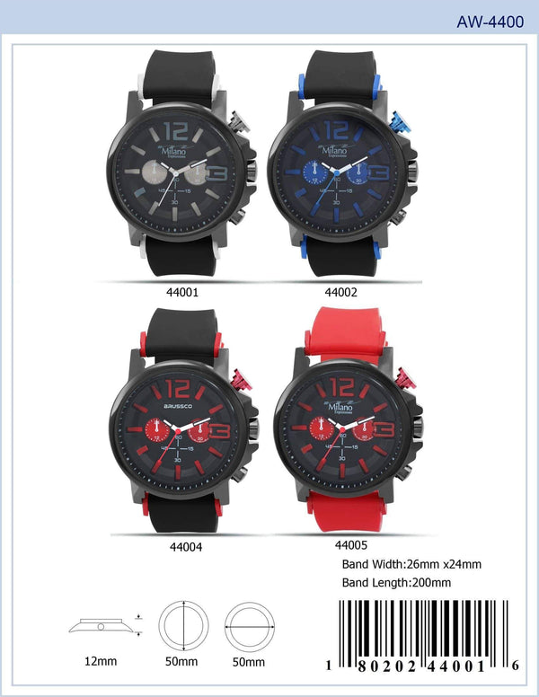 50MM Milano Expressions Rubber Strap Watch - 4400
