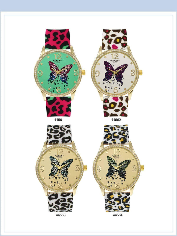 42MM Milano Expressions Silicon Band Watch with Butterfly Print - 4456 - Special