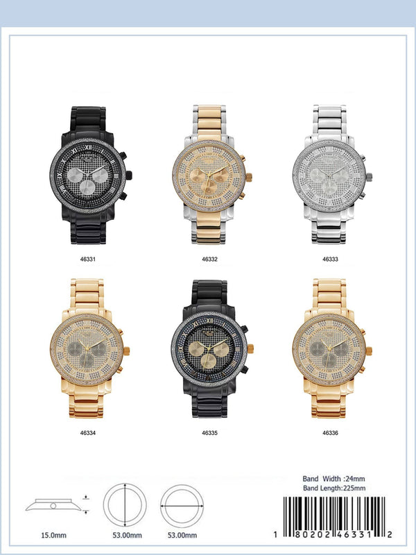 53MM Milano Expressions Iced Out Watch - 4633 - Special (MOQ 5 Pieces Assorted)