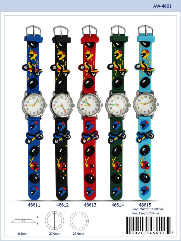 27MM Kids Watch with Motorcycle Print - 4661