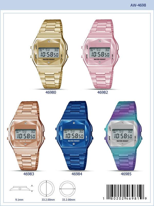 33MM Retro LCD Watch with Crystal Cut Display - 4698