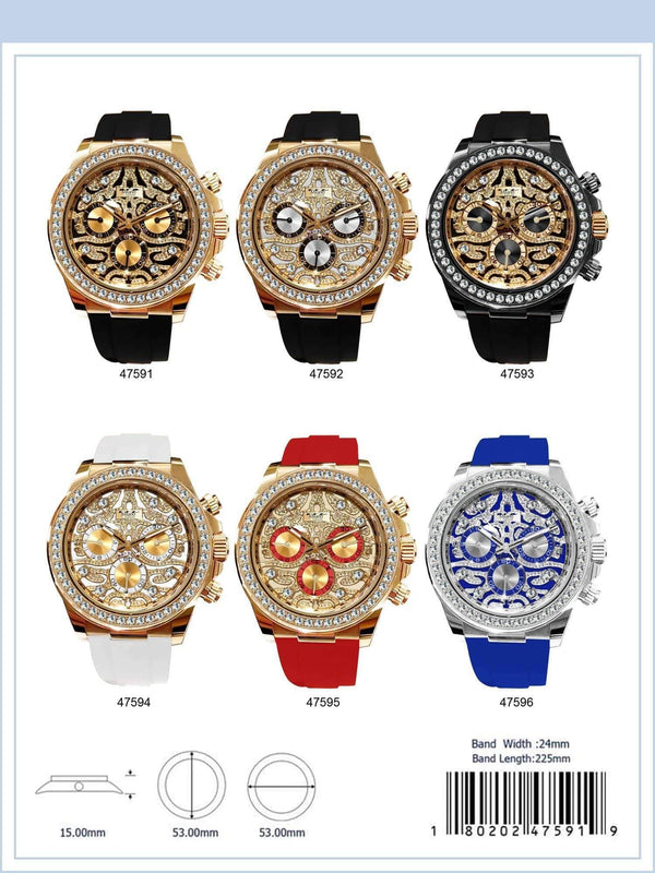 53MM Milano Expressions Iced Out Silicon Band Watch - 4759