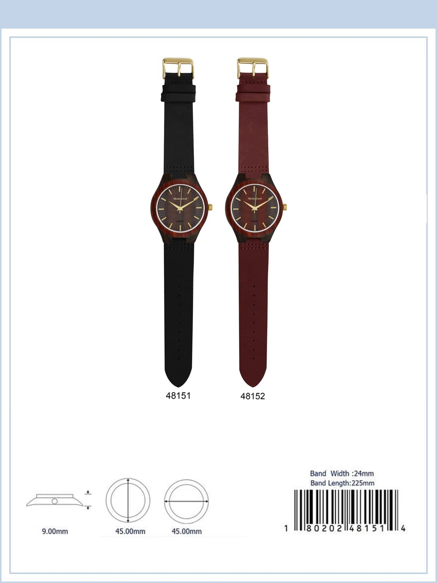 4815 - Bamboo Wooden Watch with Suede Band