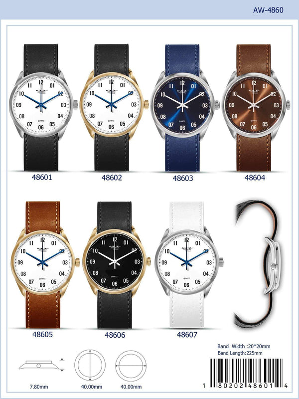 40MM Milano Expressions Vegan Leather Band Watch with Pin-less Band - 4860