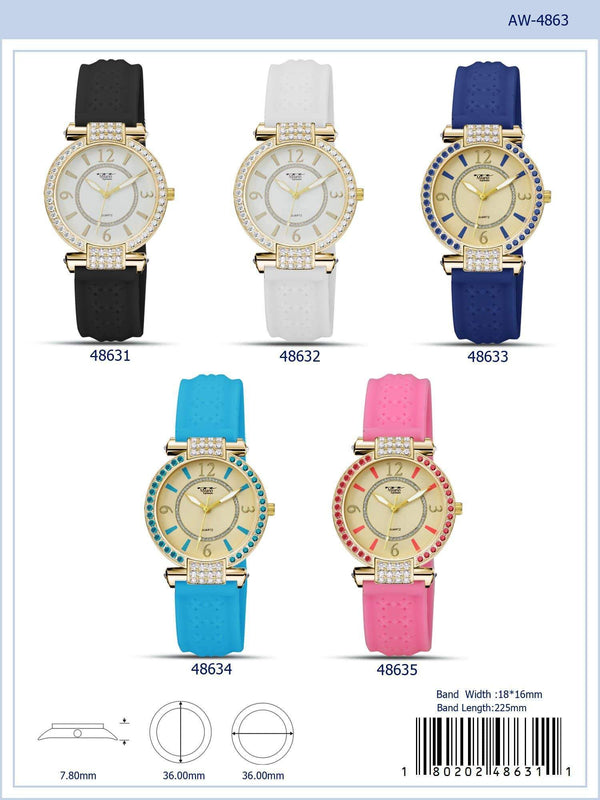 36MM Milano Expressions Rubber Strap Watch - 4863