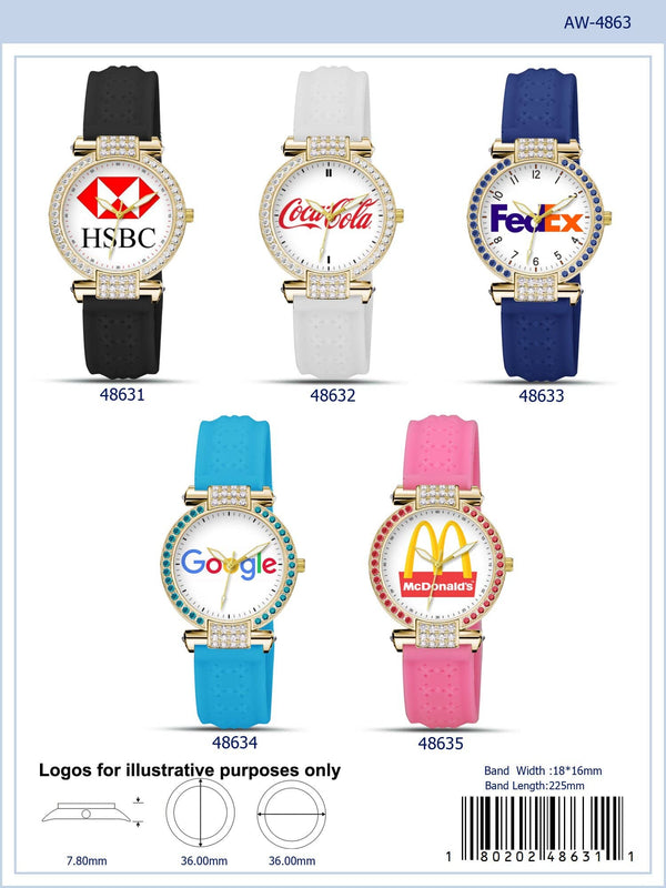 36MM Customizable Rubber Strap Watch - 4863