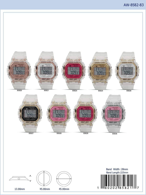 45MM Montres Carlo 5ATM Square Transparent Digital Watch - 8582 - Special (MOQ 5 Piece Assorted)