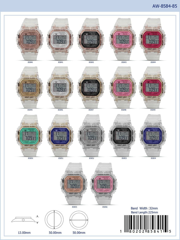 50MM Montres Carlo 5ATM Square Transparent Digital Watch - 8584 - Special