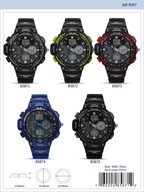 53MM Montres Carlo 5ATM Analog-Digital Watch - 8587 - Special (MOQ 5 Piece Assorted)